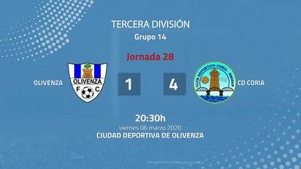 Resumen partido entre Olivenza y CD Coria Jornada 28 Tercera División