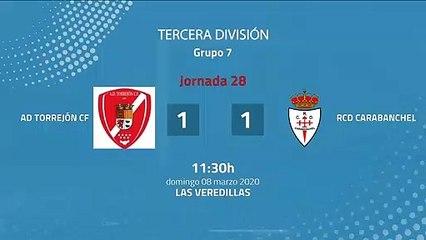 Resumen partido entre AD Torrejón CF y RCD Carabanchel Jornada 28 Tercera División