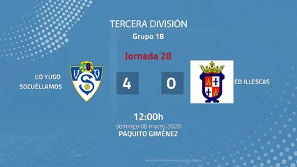 Resumen partido entre UD Yugo Socuéllamos y CD Illescas Jornada 28 Tercera División