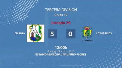 Resumen partido entre CD Rota  y Los Barrios Jornada 29 Tercera División