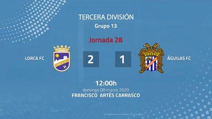 Resumen partido entre Lorca FC y Águilas FC Jornada 28 Tercera División