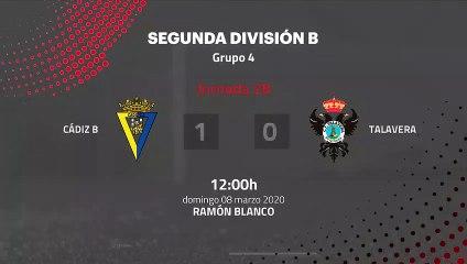 Resumen partido entre Cádiz B y Talavera Jornada 28 Segunda División B