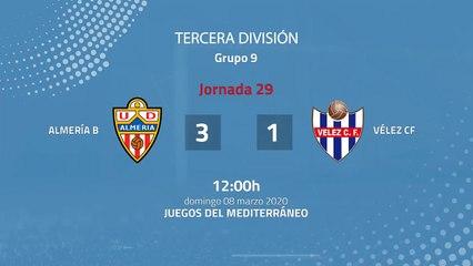 Resumen partido entre Almería B y Vélez CF Jornada 29 Tercera División