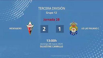 Resumen partido entre Mensajero y UD Las Palmas C Jornada 28 Tercera División