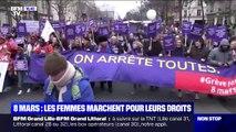 8 Mars: les femmes marchent pour leurs droits à Paris