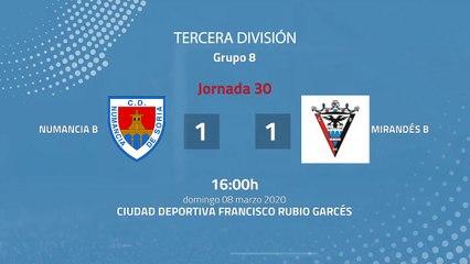 Resumen partido entre Numancia B y Mirandés B Jornada 30 Tercera División
