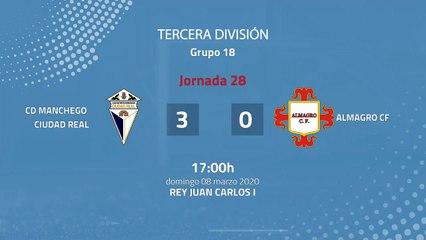 Resumen partido entre CD Manchego Ciudad Real y Almagro CF Jornada 28 Tercera División