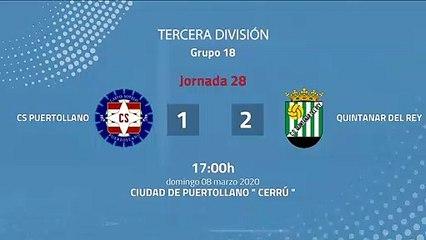 Resumen partido entre CS Puertollano y Quintanar del Rey Jornada 28 Tercera División