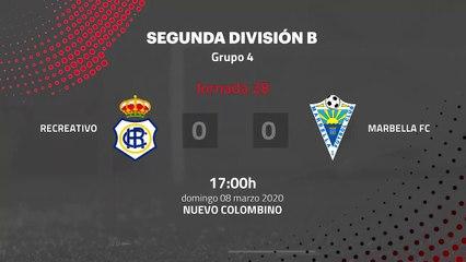 Resumen partido entre Recreativo y Marbella FC Jornada 28 Segunda División B