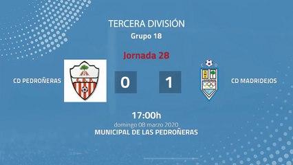 Resumen partido entre CD Pedroñeras y CD Madridejos Jornada 28 Tercera División