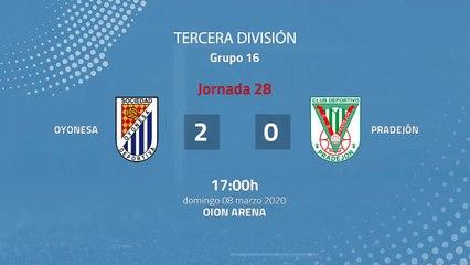 Resumen partido entre Oyonesa y Pradejón Jornada 28 Tercera División
