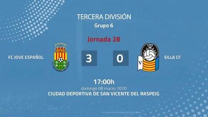 Resumen partido entre FC Jove Español y Silla CF Jornada 28 Tercera División