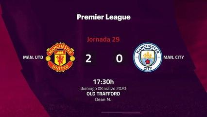 Resumen partido entre Man. Utd y Man. City Jornada 29 Premier League