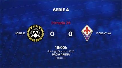 Resumen partido entre Udinese y Fiorentina Jornada 26 Serie A