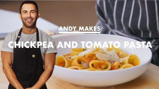 Andy Makes Pasta with Tomatoes and Chickpeas