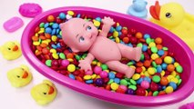 Learn Colors MandMs Triple Baby Doll Bath Time and Ice Cream Cups Surprise Toys