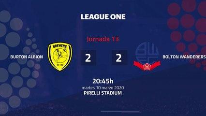 Resumen partido entre Burton Albion y Bolton Wanderers Jornada 13 League One