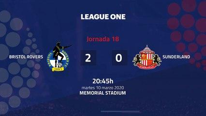 Resumen partido entre Bristol Rovers y Sunderland Jornada 18 League One