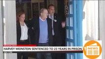 Harvey weinstein is sentenced to 23 years in prison.