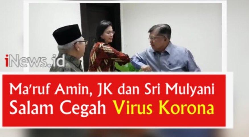 Video Ma'ruf Amin, JK dan Sri Mulyani Praktikkan Salam Cegah Virus Korona