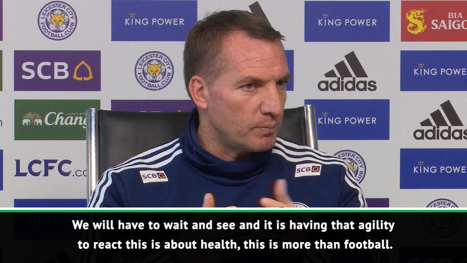 Rodgers confirms three Leicester players have shown coronavirus symptoms