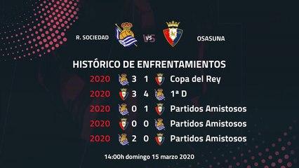 Previa partido entre R. Sociedad y Osasuna Jornada 28 Primera División