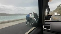 Woman Struggles to Hold Bicycle Due to Strong Force of Wind