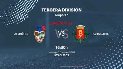 Previa partido entre CD Binéfar y CD Belchite Jornada 32 Tercera División