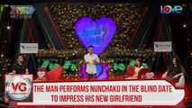 The man performs Nunchaku in the blind date to impress his new girlfriend
