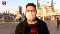 Taksim Meydanı'nda maskeli Corona virüs önlemleri