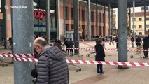 Italian shoppers queue up six foot away from each other during country's coronavirus lockdown