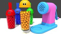 Learn Colors with Bunny Mold and Pasta Spaghetti Making Toy Fruits Squishy Ball for Kids Children
