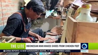 Indonesian man makes shoes from chicken feet