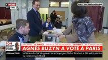Le moment de solitude d'Agnès Buzyn qui se débat avec une bouteille de gel hydroalcoolique dans son bureau de vote en direct sur les chaînes infos