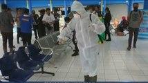 Terminal Surodakan di Trenggalek Disemprot Disinfektan