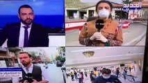 Lübnan'da Koronavirüs hakkında bilgi veren veren muhabir canlı yayında yüksek ateş nedeniyle bir anda yere yığıldı