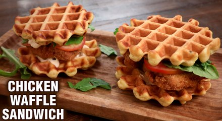 Chicken Waffle Sandwich | How To Make Fried Chicken Waffle Sandwich | Sandwich Recipe By Tarika