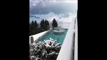 Le paradis existe et il est en Suisse : jacuzzi avec vu sur les Alpes