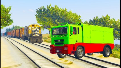 Trains stop the Cars party with spiderman 3D cartoon for Kids and children