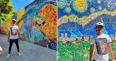 Il recycle 200 000 bouchons de bouteilles pour créer une fresque colorée de 45 mètres