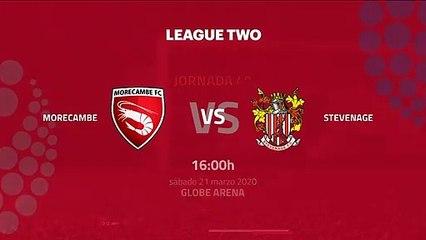 Previa partido entre Morecambe y Stevenage Jornada 40 League Two