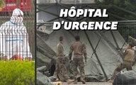 Les images de l'hôpital de campagne militaire qui se déploie à Mulhouse