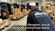 Coronavirus: UPS couriers in Bergamo break out in song while loading parcels