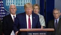 Us President Donald Trump on measures to stop the spread coronavirus