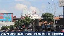 Pemkot Surabaya Semprotkan Disinfektan Pakai Drone
