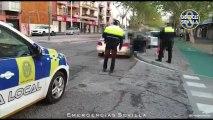 Multado un vehículo en Sevilla con tres adultos y cinco menores en su interior