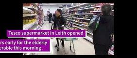 Coronavirus - Elderly and vulnerable shoppers shopping hour at Tesco in Leith, Scotland