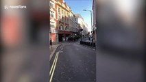 Mounted patrols seen on deserted London streets on first day of lockdown