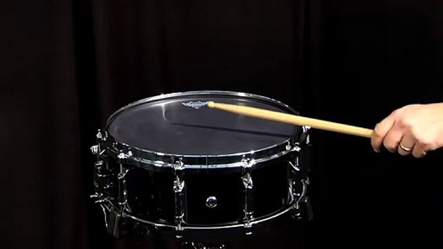 Remo 14'' Black X Reverse Dot Batter Snare Drum Head on 5x14 Wood Snare Drum