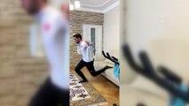 Evini spor salonuna dönüştüren milli sporcu İpcioğlu'ndan 'Evde kalın' çağrısı - ERZURUM